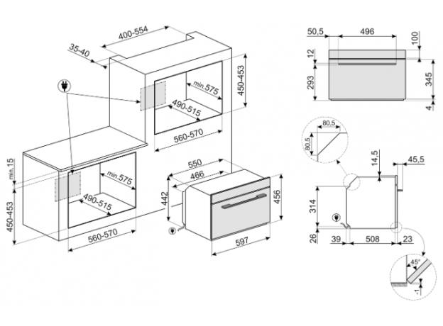 Встраиваемая микроволновая печь Smeg SF4102MS